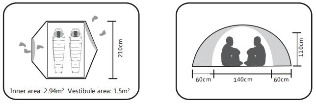 چادر کوهنوردی 2 نفره کایلاس مدل KT30036 اندازه و مشخصات