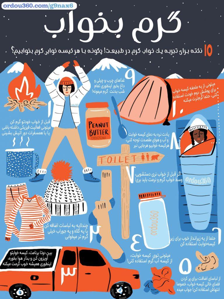 کیسه خواب گرم، چگونه در کمپ گرم بخوابیم؟ اینفوگرافی